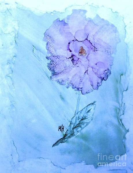 Wall Art - Painting - Purple Rose On Blue by Marsha Heiken