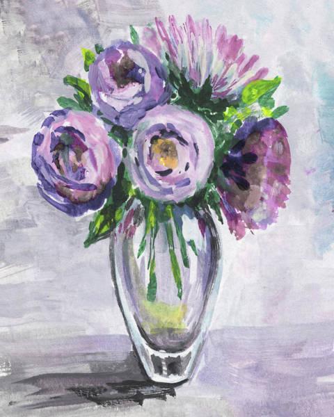 Painting - Purple Serenade Flowers Bouquet Floral Impressionism  by Irina Sztukowski
