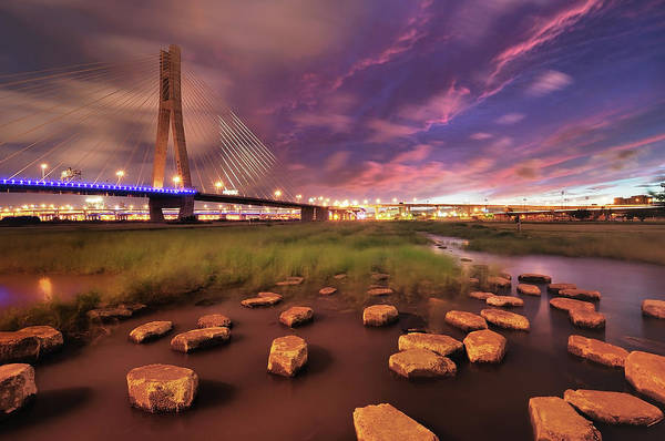 Cable-stayed Bridge Photograph - Purple Storm by Copyright Of Eason Lin Ladaga