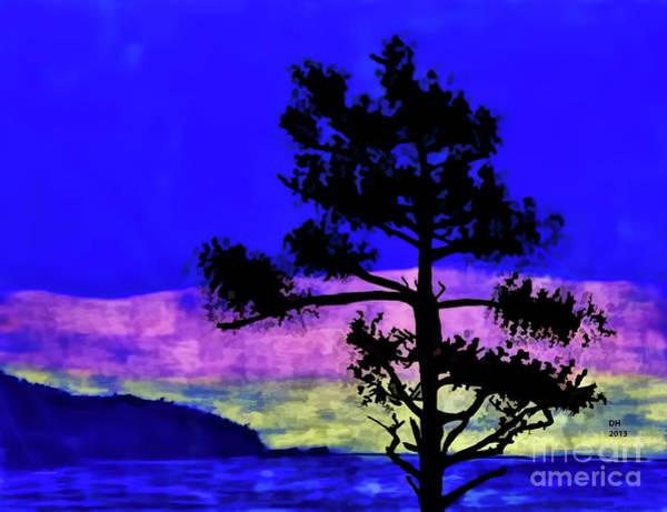 Grey Skies Drawing - Purple Sunset Bay by D Hackett