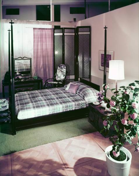 Wall Art - Photograph - Purple Toned Bedroom by Horst P. Horst