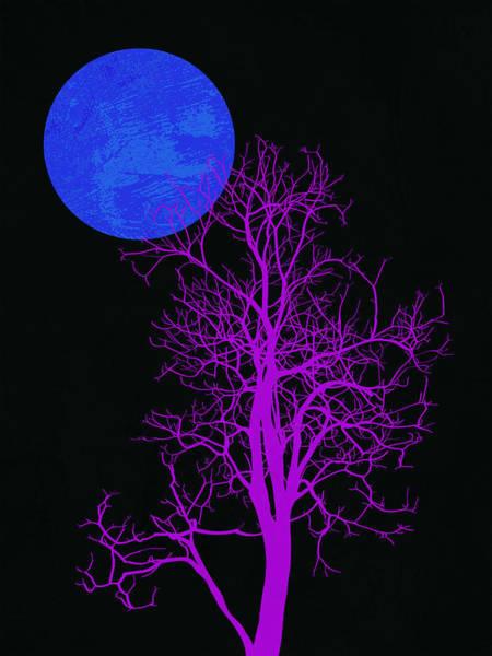 Earth Day Wall Art - Mixed Media - Purple Tree And Blue Moon by Naxart Studio