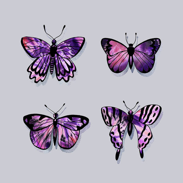 Wall Art - Painting - Purple Watercolor Butterflies On Gray Ix by Irina Sztukowski