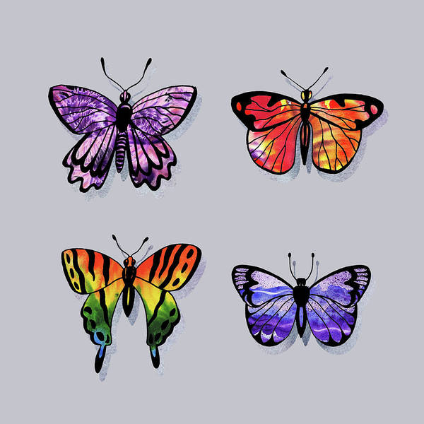 Wall Art - Painting - Colorful Watercolor Butterflies On Gray X by Irina Sztukowski