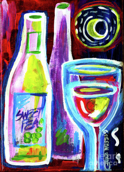 Wall Art - Painting - Purple Wine With Moon by Genevieve Esson