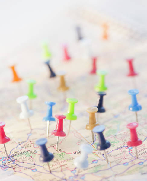 Straight Photograph - Pushpins In A Map by Jamie Grill
