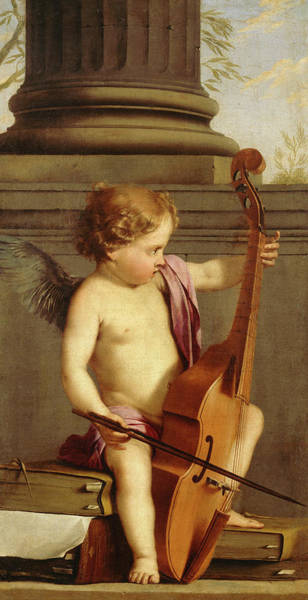 Wall Art - Painting - Putto Playing Violin by Laurent de La Hyre