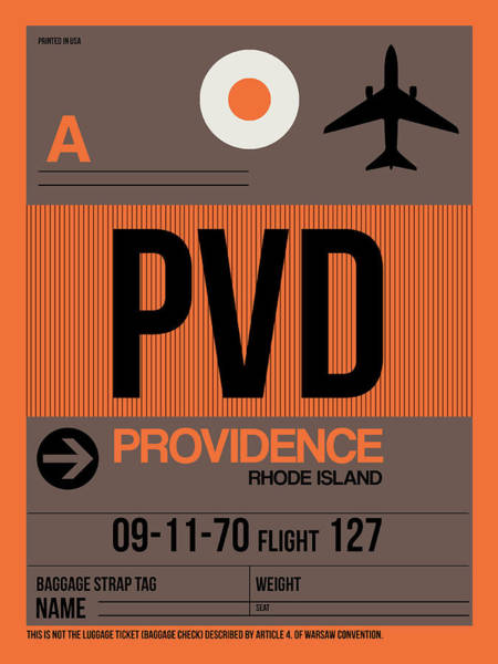 Wall Art - Digital Art - Pvd Providence Luggage Tag I by Naxart Studio