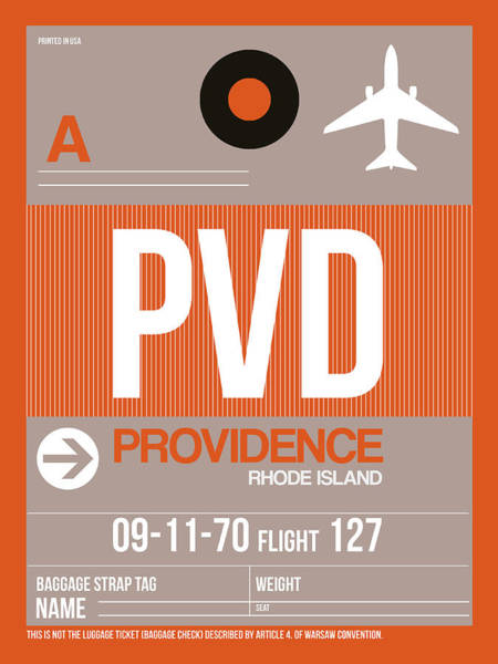 Wall Art - Digital Art - Pvd Providence Luggage Tag II by Naxart Studio