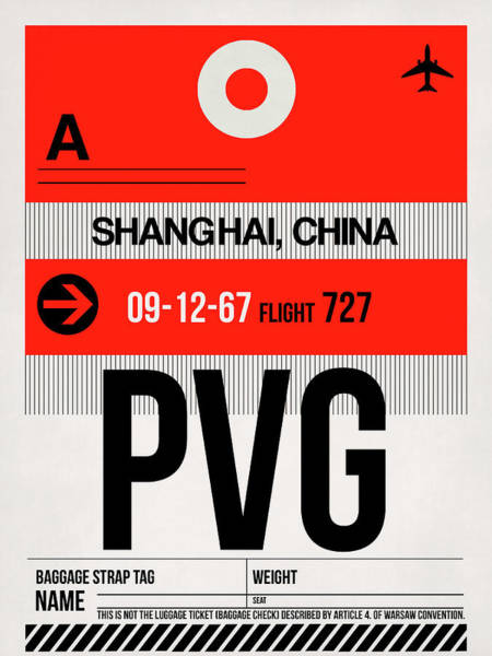 Wall Art - Digital Art - Pvg Shanghai Luggage Tag I by Naxart Studio
