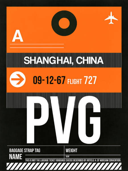 Wall Art - Digital Art - Pvg Shanghai Luggage Tag II by Naxart Studio