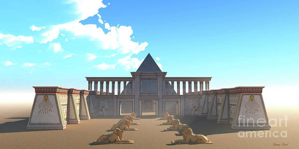 Wall Art - Digital Art - Pyramid Egyptian Temple by Corey Ford