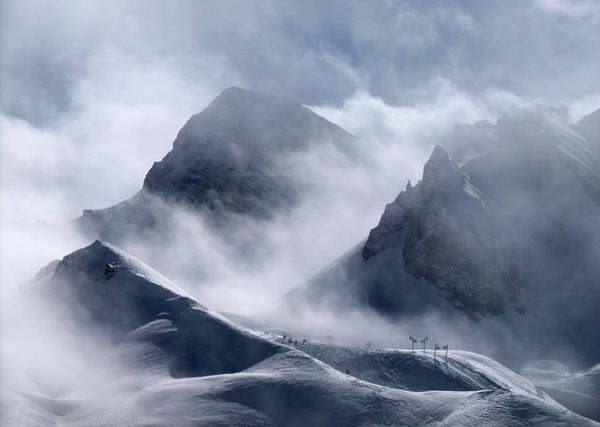 Fog Photograph - Pyramide And Roc Merlet In Courchevel by Niall Corbet @ Www.flickr/photos/niallcorbet