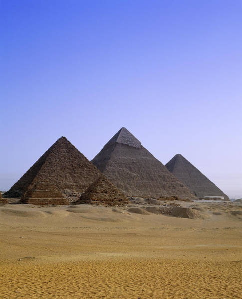 Giza Photograph - Pyramids In Desert Landscape, Close Up by Stephen Studd