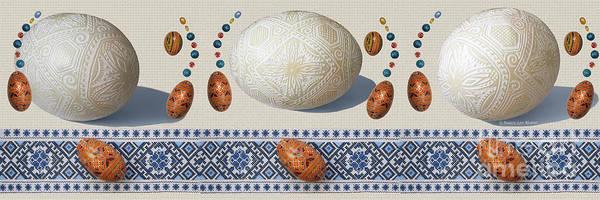 Wall Art - Mixed Media - Pysanky Eggs - Chicken Goose Ostrich by Nancy Lee Moran