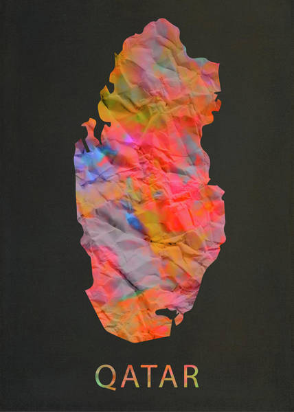 Wall Art - Mixed Media - Qatar Tie Dye Country Map by Design Turnpike