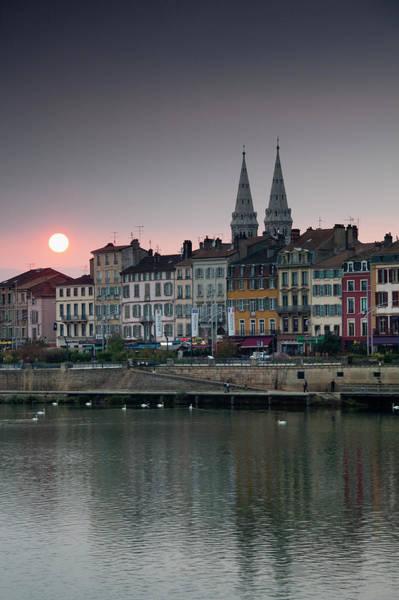 Burgundy Photograph - Quai Lamartine And Saone River, Sunset by Walter Bibikow