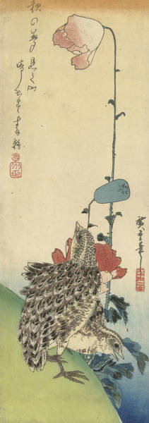 Wall Art - Relief - Quail And Poppies by Utagawa Hiroshige