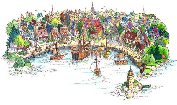Quaint Drawing - Quaint Port City by Dan Nelson