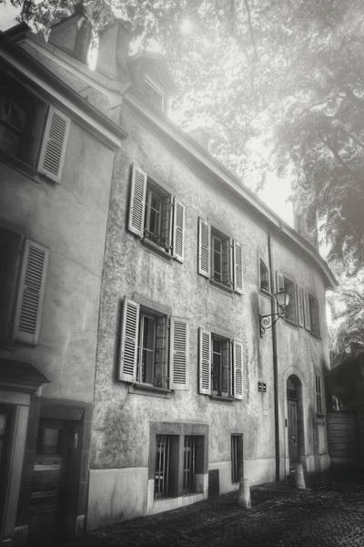 Wall Art - Photograph - Quaint Streets Of Europe Geneva Switzerland Black And White by Carol Japp
