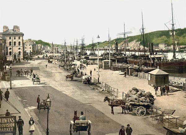 Wall Art - Photograph - Quays Of Waterford - Ireland - 1890s by War Is Hell Store