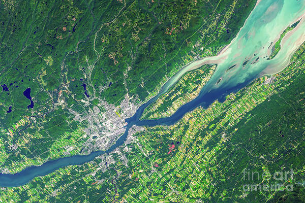 Wall Art - Photograph - Quebec City From Space by Delphimages Photo Creations