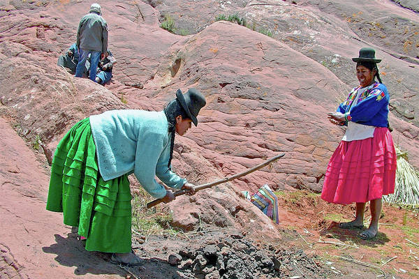 Wall Art - Photograph - Quechan Women Tend Fire For Roasting Potatoes In Acora, Peru  by Ruth Hager