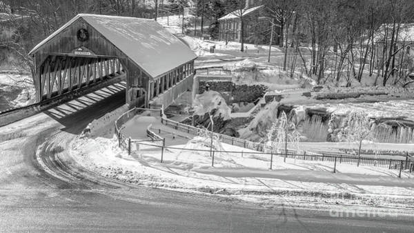 Wall Art - Photograph - Quechee Covered Bridge In Winter by Edward Fielding