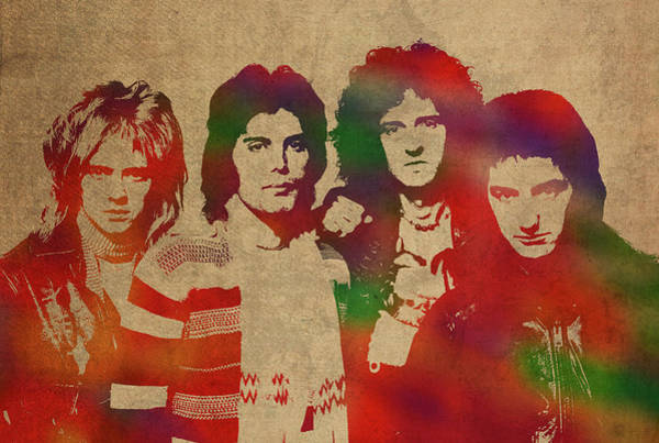 Wall Art - Mixed Media - Queen Band Watercolor Portrait by Design Turnpike
