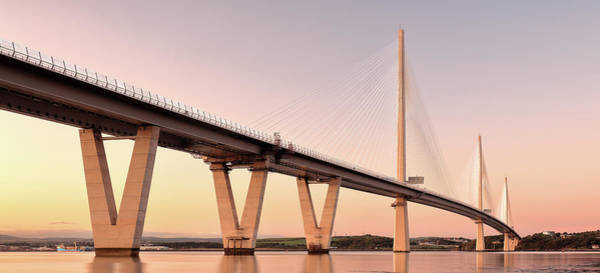 Photograph - Queensferry Crossing Bridge Sunset by Grant Glendinning