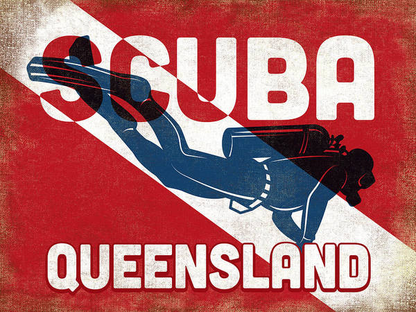 Queensland Digital Art - Queensland Scuba Diver - Blue Retro by Flo Karp
