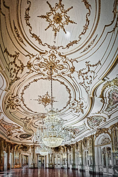 Photograph - Queluz Palace Ballroom Ceiling - Portugal by Stuart Litoff