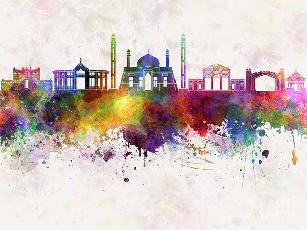 Wall Art - Painting - Quetta  Skyline In Watercolor Background by Pablo Romero