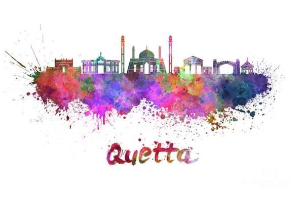 Wall Art - Painting - Quetta Skyline In Watercolor Splatters  by Pablo Romero