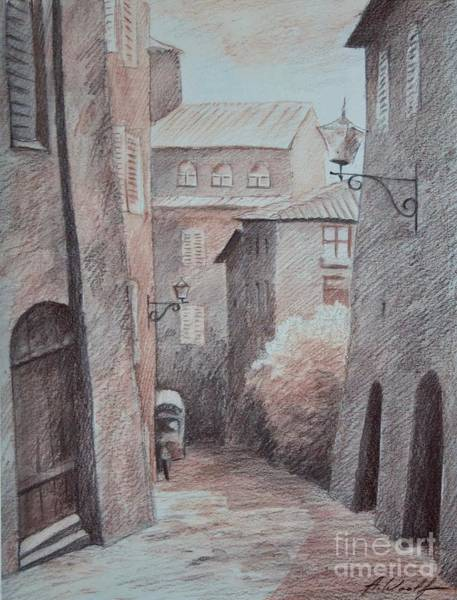 Wall Art - Drawing - Quiet Street In Siena by Anatol Woolf
