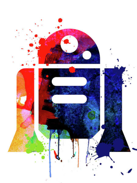 Wall Art - Mixed Media - R2-d2 Cartoon Watercolor by Naxart Studio