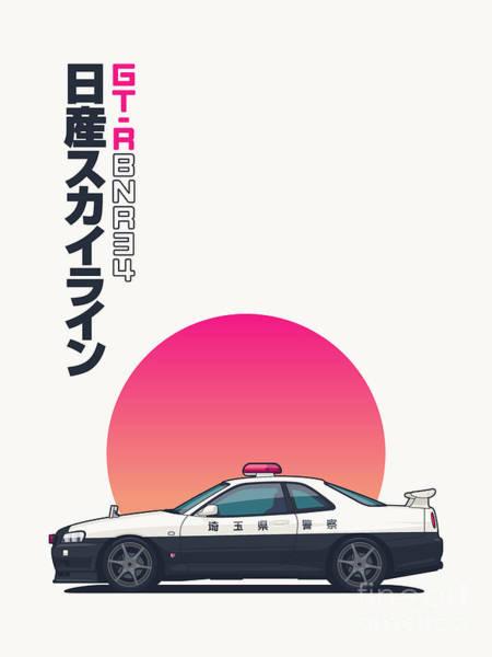 Wall Art - Digital Art - R34 Gt-r - Portrait Japanese Police by Ivan Krpan