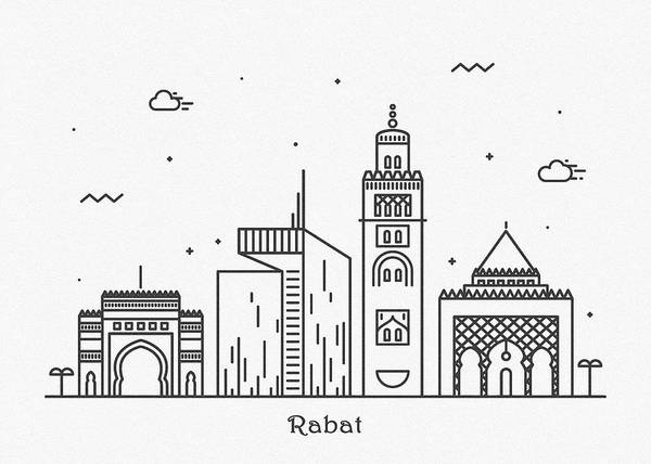 Wall Art - Drawing - Rabat Cityscape Travel Poster by Inspirowl Design