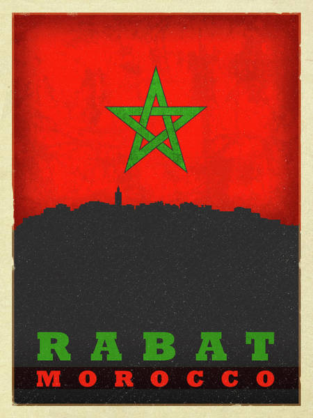 Wall Art - Mixed Media - Rabat Morocco City Skyline Flag by Design Turnpike