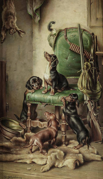 Wall Art - Painting - Rabbit And Four Dachshunds by Carl Reichert