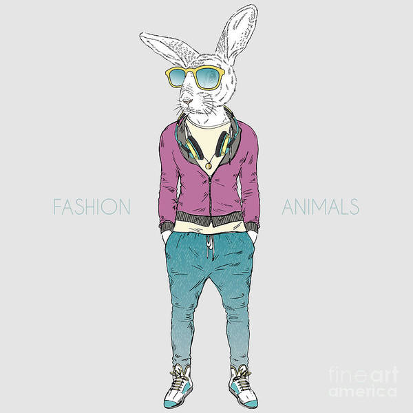 Wall Art - Digital Art - Rabbit Boy Dressed Up In Urban City by Olga angelloz