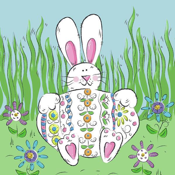 Wall Art - Digital Art - Rabbit Easter Egg by Deidre Mosher