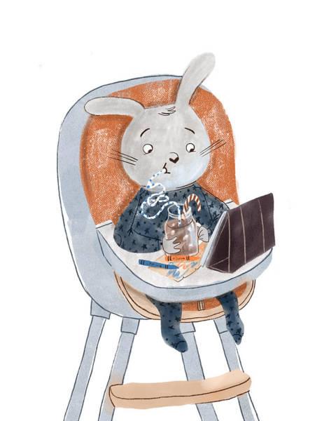 Trimming Painting - Rabbit by Ema Malyauka