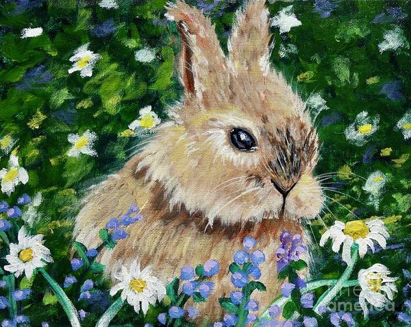 Painting - Rabbit In Field Of Flowers by Jacqueline Athmann