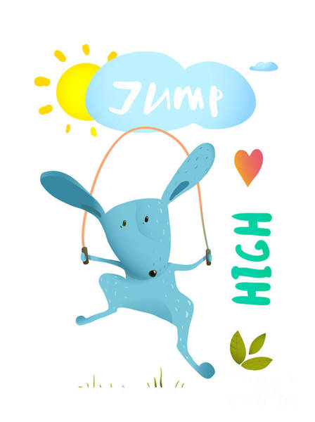 Fitness Digital Art - Rabbit Jumping Rope For Kids. Hare by Popmarleo
