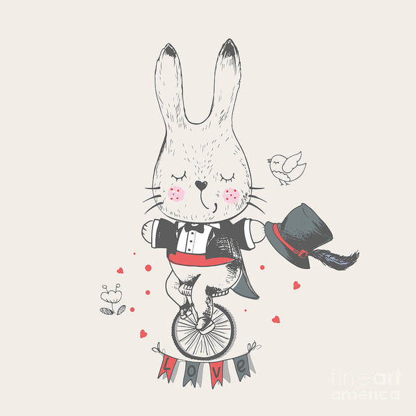 Acrobat Wall Art - Digital Art - Rabbitbunny Riddingbicyclehand Drawn by Eteri Davinski