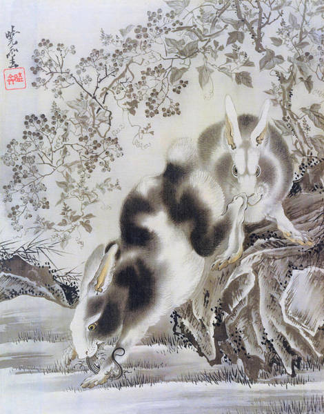 Wall Art - Painting - Rabbits - Digital Remastered Edition by Kawanabe Kyosai