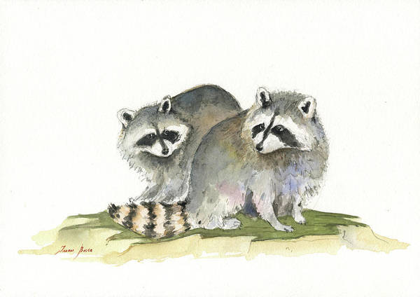 Wall Art - Painting - Raccoon Friendship by Juan Bosco