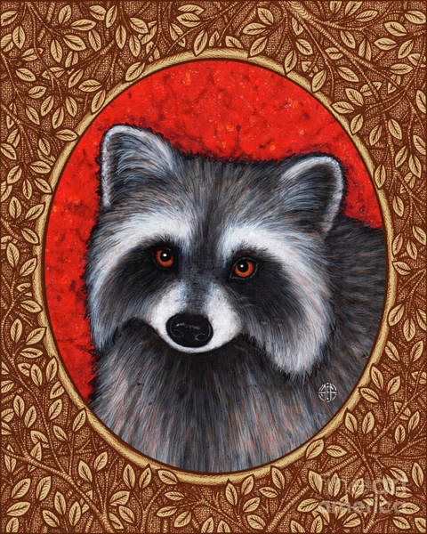 Painting - Raccoon Portrait - Brown Border by Amy E Fraser