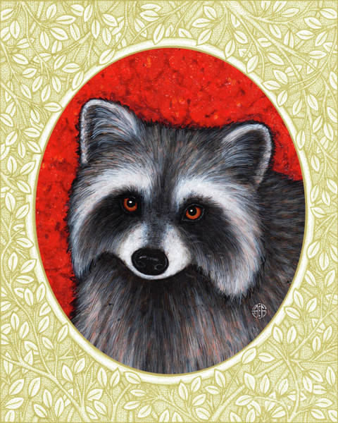 Painting - Raccoon Portrait - Cream Border by Amy E Fraser